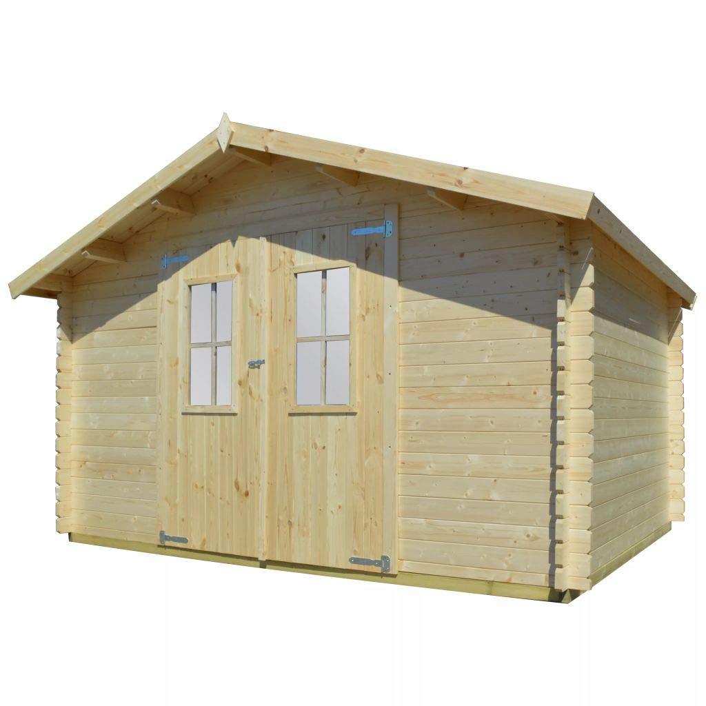 vidaXL Jardín Casa 34 mm 4 x 3 m madera maciza block Casa - Cobertizo para madera casa: Amazon.es: Jardín