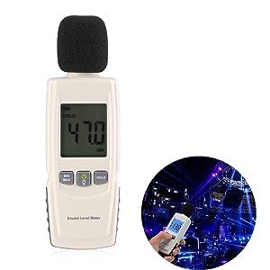 Sonómetro Digital, Zogin Medidor Decibelios del Ruido Portátil con Retroiluminación LCD, Rango de Medición 30 ~ 130 dBA, Incluye 3pcs AAA Batería