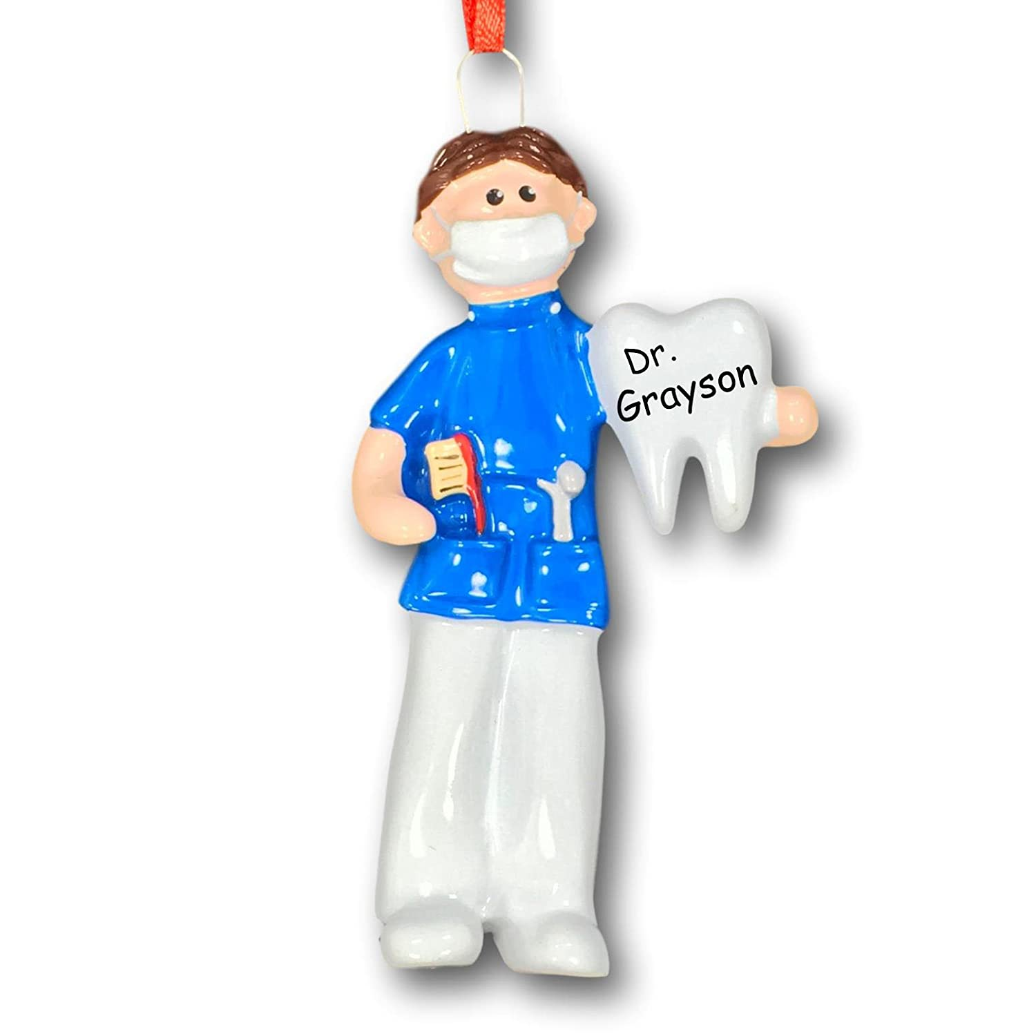 0d02f4c8dd2 Amazon.com: Personalized Male Brunette Dental Hygienist Dentist Dental  Assistant in Scrubs Holding Tooth Hanging Christmas Tree Ornament Custom  Name - 4 ...