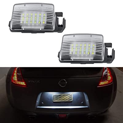 Gempro 2Pcs LED License Plate Light Lamp Assembly Replacement For Nissan 350z 370z GT-R Cube Leaf Sentra Versa 5D/4D Infiniti Q60 G35 G37 G25, Powered by 18SMD Xenon White LED Lights: Automotive