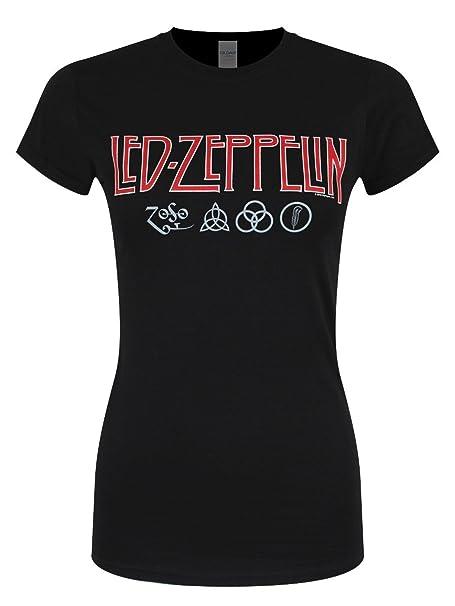 2fe513f89 Led Zeppelin Logo   Símbolos Camiseta Negro  Amazon.es  Ropa y ...