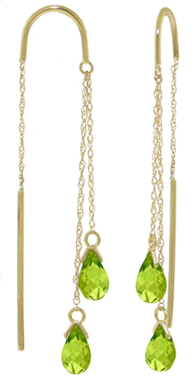 14K Yellow Gold Peridot Threaded Earrings