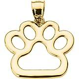Polished 10k Gold Dog Paw Print Charm Pendant