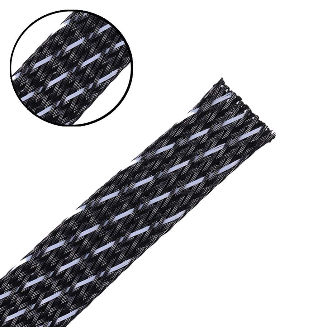 拡張可能な編組Sleeving編組ケーブルスリーブ耐火耐久性をBlackWhiteペットハロゲンラップ&保護ケーブル1 / 3
