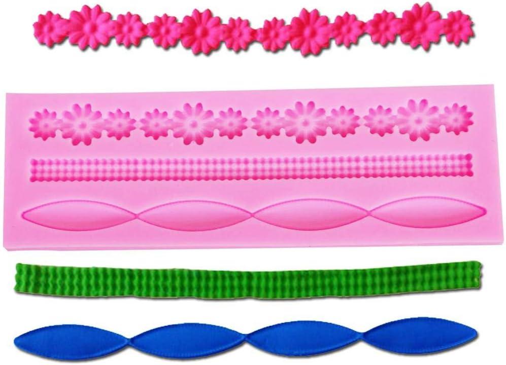 Piedras preciosas chocolate negro molde del caramelo de la jalea collar de perlas decoradas herramientas 3D de flores 5,2 * 15,3 * 0,6 cm