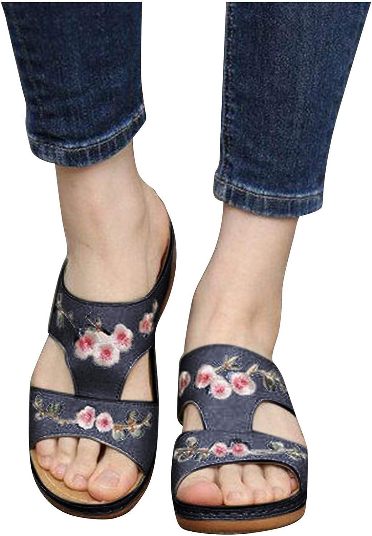 Writtian Zapatillas Plataforma Mujer Sandalias Cuña Verano 2021 Zuecos y Mules Cómodos Chanclas sin Espalda Antideslizante Ortopédica de bordadas retro elegantes Pantuflas con Punta Abierta