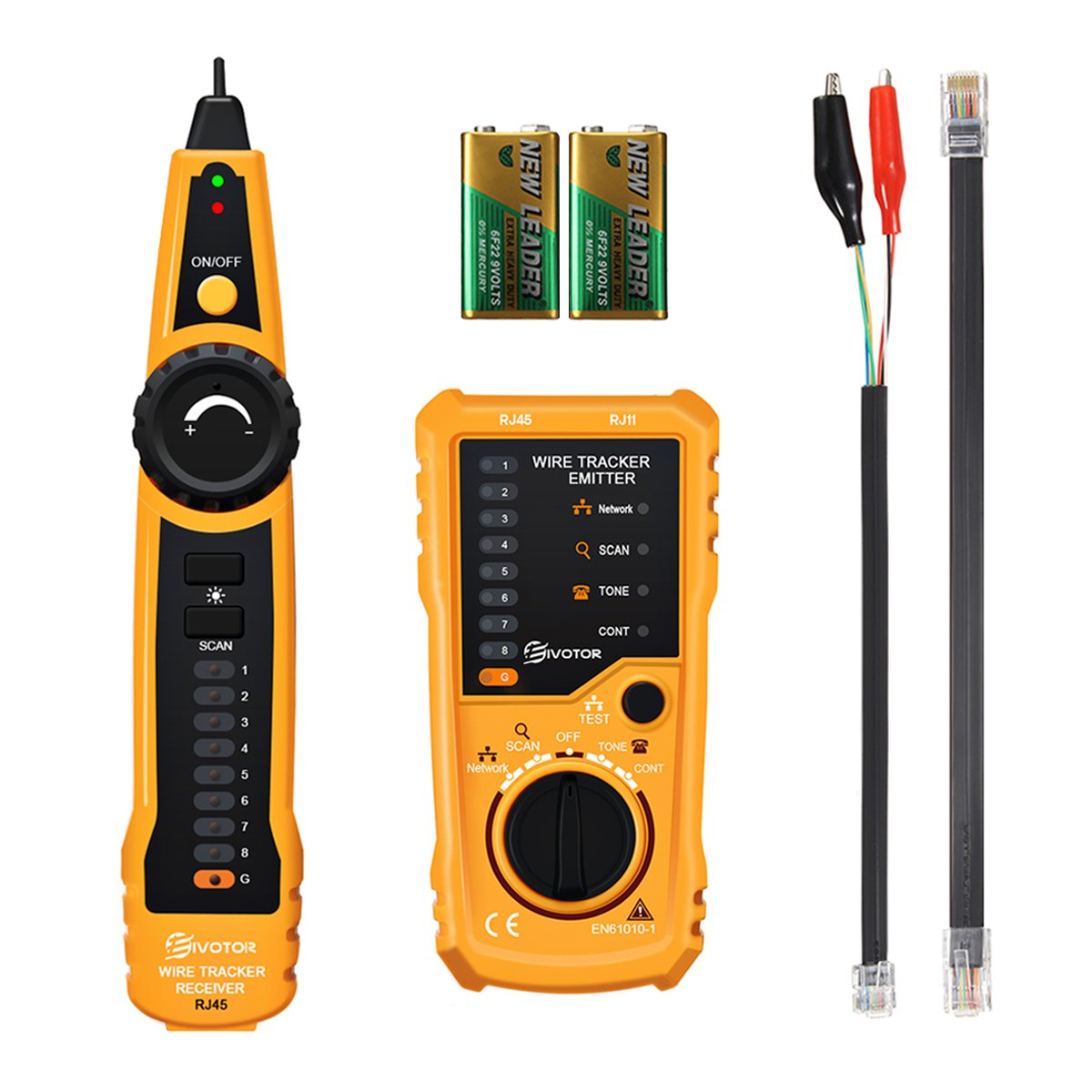 Network Cable Tester, EIVOTOR Telephone Wire Tracker Network LAN Ethernet RJ45 RJ11 Cable Tester Muti-purpose Line Finder for Telecommunications, Broadband Networks, Infrastructure, and Other Lines (Yellow 2) EIVOTORHON25LIN205