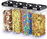 DWËLLZA KITCHEN - Airtight Food Storage Containers with Lids – 4 Piece Set/All Same Size - Large Air Tight Clear Durable Plastic Food Containers with Black Lids - BPA-Free - Keeps Food Fresh & Dry