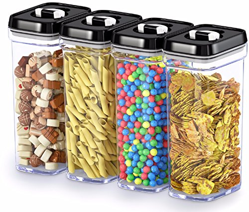 DWËLLZA KITCHEN Airtight Food Storage Containers with Lids - 4 Piece Set/All Same Size - Medium Air Tight Clear Plastic Pantry & Kitchen Container for Chips & Snacks BPA-Free - ()