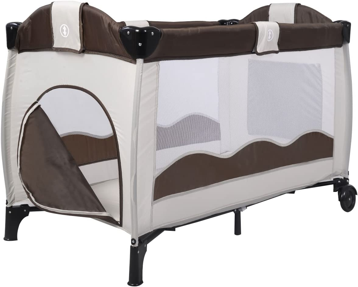 Wheels and Brake Nursery Center for Boys and Girls Changing Table GYMAX Foldable Baby Crib Travel Cot with Bassinet Portable Design with Carry Bag
