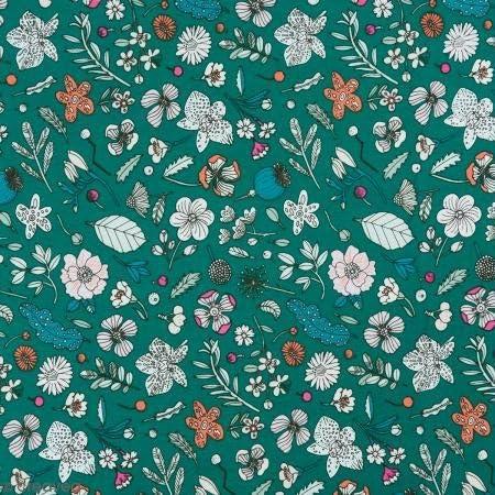 Retal de tela lienzo algodón Made by Me – flores Détails Fluo ...