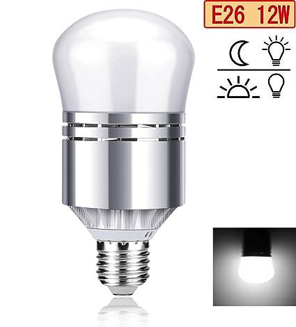 Vorally Bombilla con sensor, 12 W E26 & E27 Bombilla LED con sensor crepuscular luz