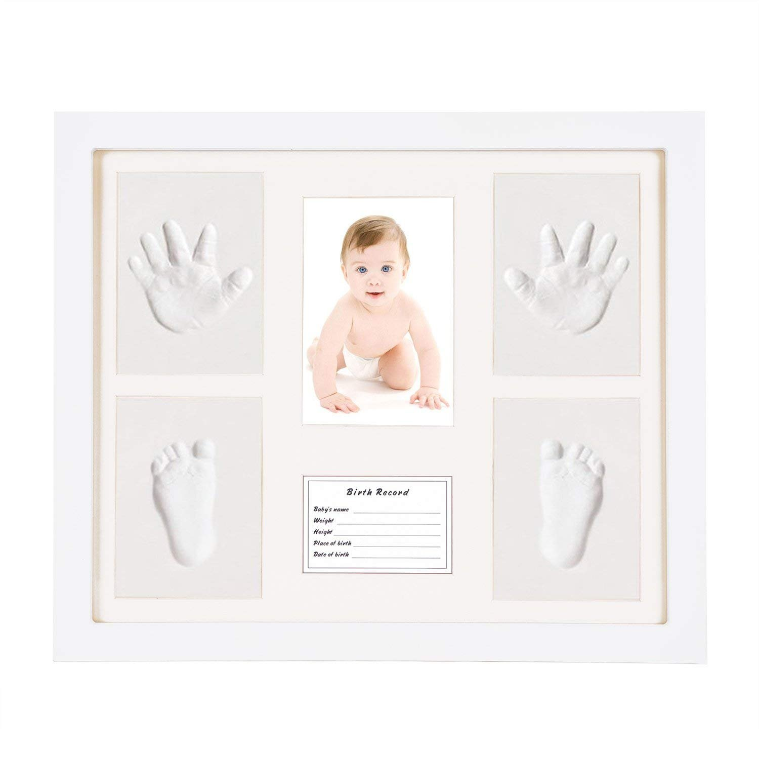 Baby Handprint Footprint Picture Frame Kit-HOBFU 1.9x10.5x18 inches Keepsake Boxfor Newborn DIY Creative Room Wall Table Décor Pictures (Wooden Frame + White Inkpad) Non Toxic Clay