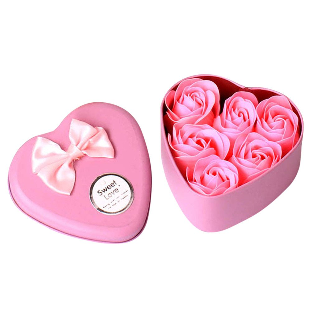 Rose Flower Scented Soap with Essential Oil, in a Heart-Shaped Gift Box by ForgetMe
