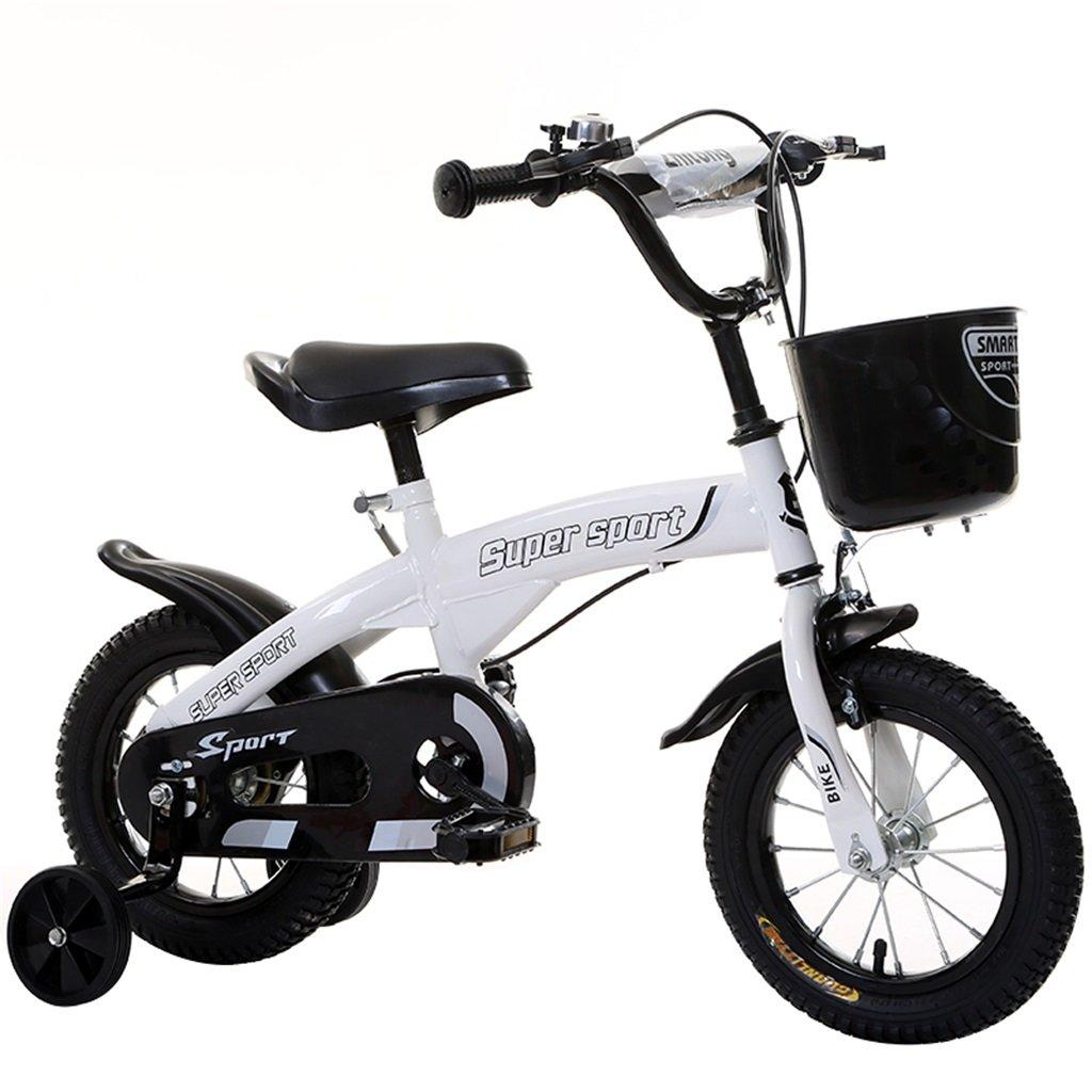 子供の自転車12|14|16|18インチ屋外の子供赤ちゃんキッドマウンテンバイク黒のトレーニングホイールで3-9歳の男の子の女の子のギフト|プラスチック製のバスケットの安全 B078GMM56X 12インチ|白 白 12インチ