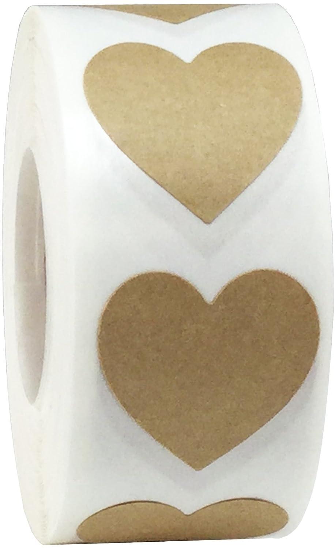 Rosa Cuore Adesivi, 25 mm 1 Pollice Larghezza, 500 Etichette su Rotolo InStockLabels.com