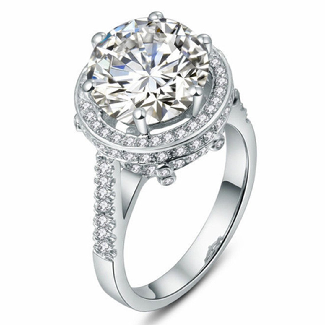 5CT Awesome NSCD Simulated Diamond Engagement Ring for Women Sterling Silver Jewelry