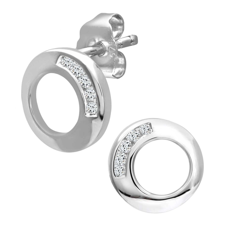 Naava Pendientes para Mujer de Oro Blanco K con Diamantes