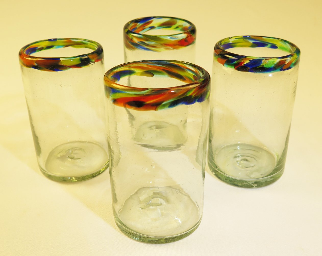 Mexican Glasses Confetti Rim Tumblers, Traditional glass from Mexico, 16 oz, (4)