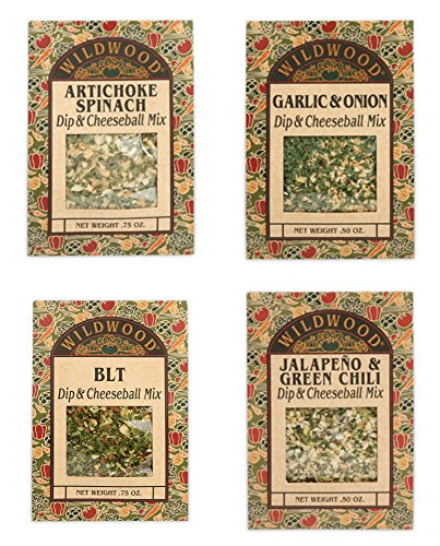 Wildwood Dip & Cheeseball Mix Bundle (4 Pack): Artichoke Spinach, Garlic & Onion, BLT, and (Artichoke Garlic)