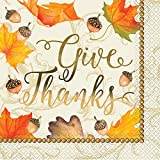 Foil Gold Fall Leaves Thanksgiving Party Napkins, 16ct