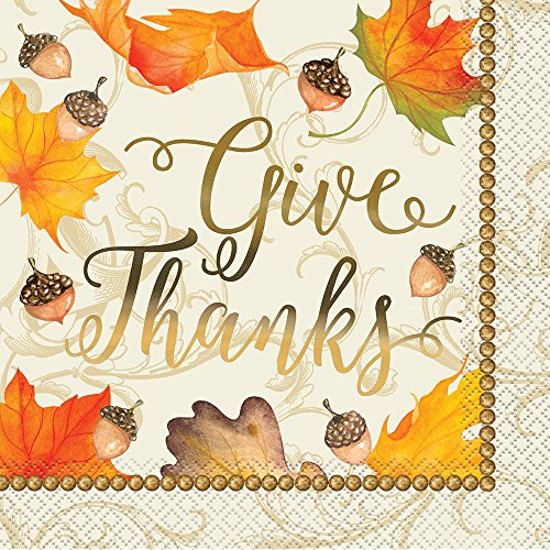 Foil Gold Fall Leaves Thanksgiving Party Napkins, -