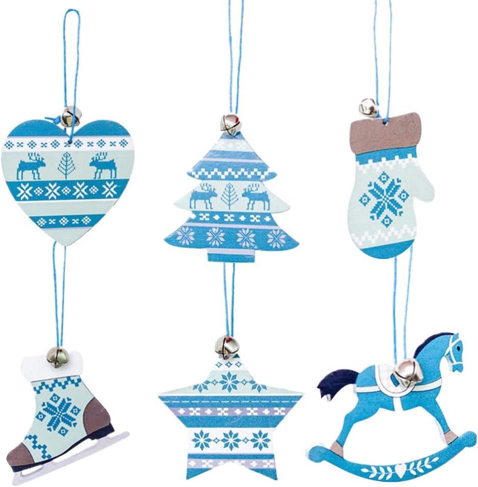 Amosfun 6 Piezas Rodajas de Madera para Navidad Adornos Corazón Árbol Navideño Estrella Bota Guante Caballo Decoración Colgante para Árbol Navidad (al Azar)