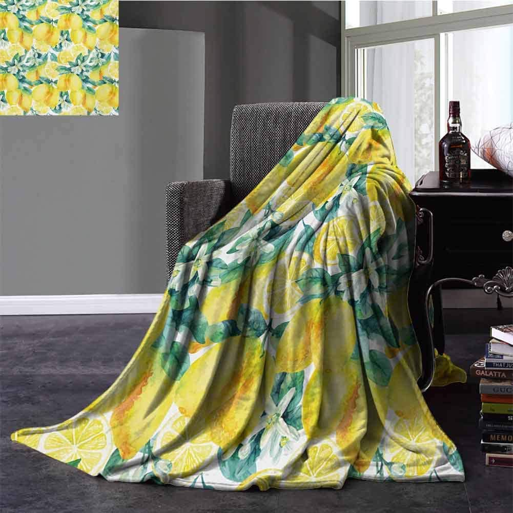 Modern Silky Soft Plush Blanket Mature Lemon Citrus Tree Branches Vibrant Flourishing Season Watercolor Portable Car Travel Cover Blanket Throw Size Forest Green Yellow 30x50 Inch