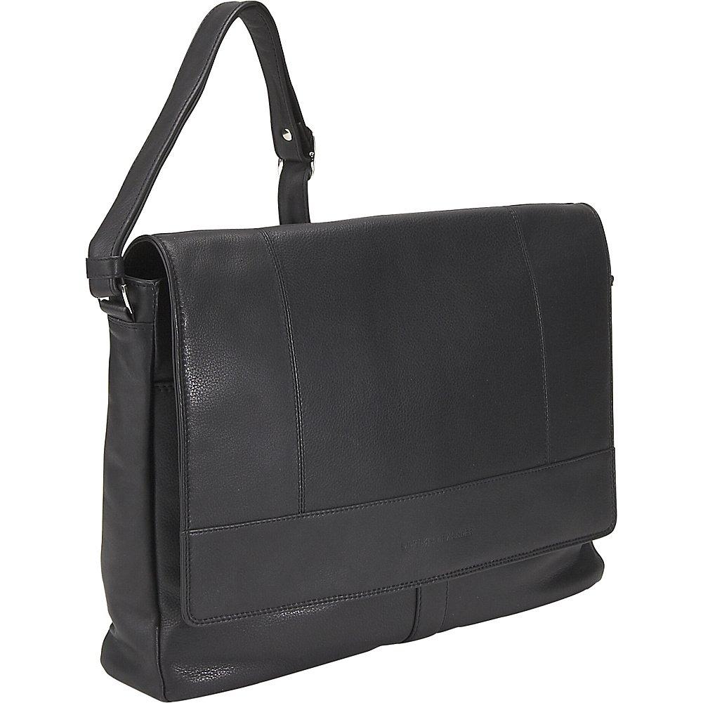 Derek Alexander Leather Half Flap Multi Pocket Business Case Black