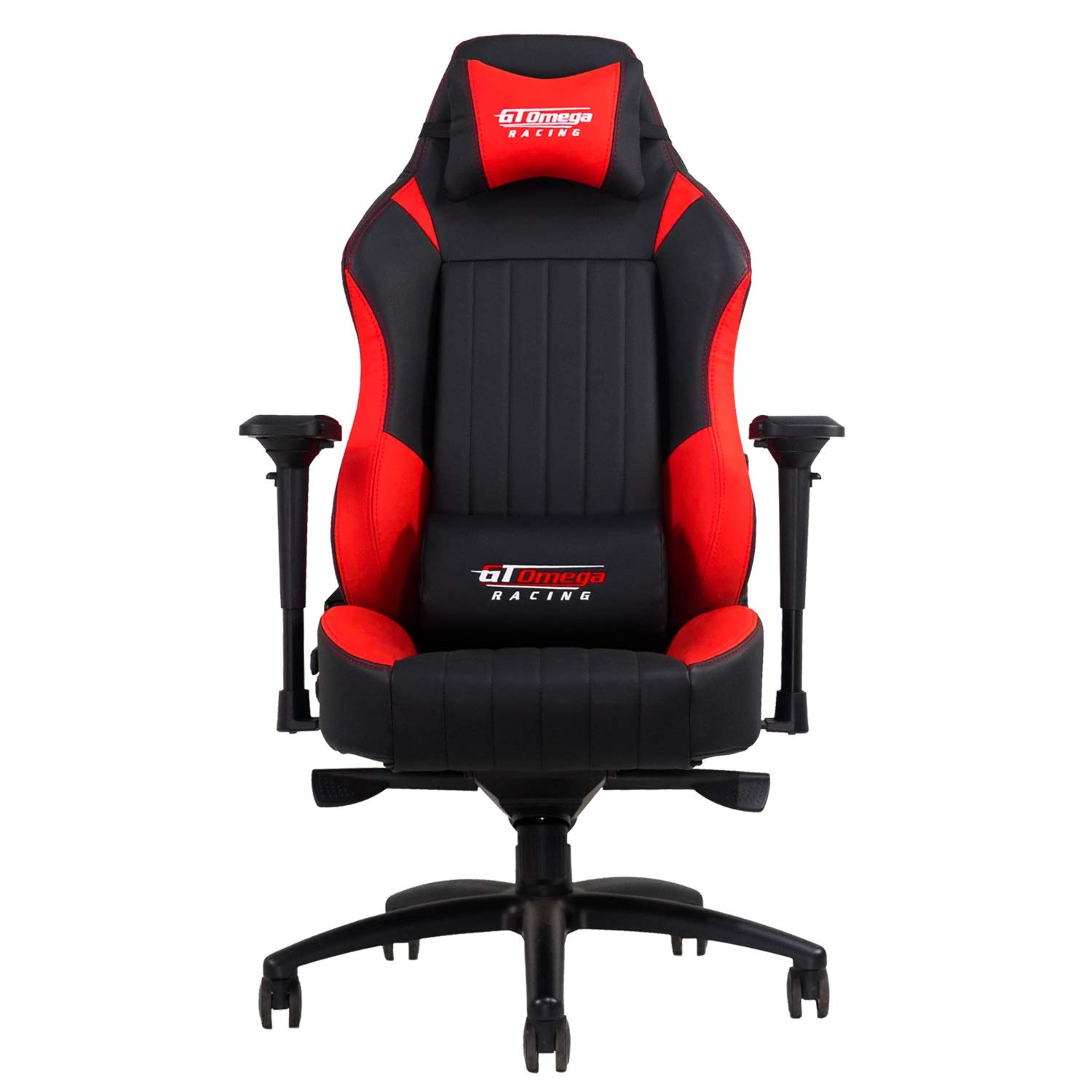 Amazon com gt omega evo xl racing office chair black and red leather esport gaming seat kitchen dining