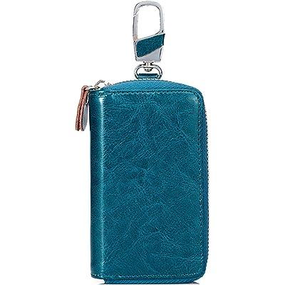 SINOKAL Bolso de la llave Carpeta Dominante Llave bolsa llavero bolsa unisex cartera cuero cartera maletín (Azul)