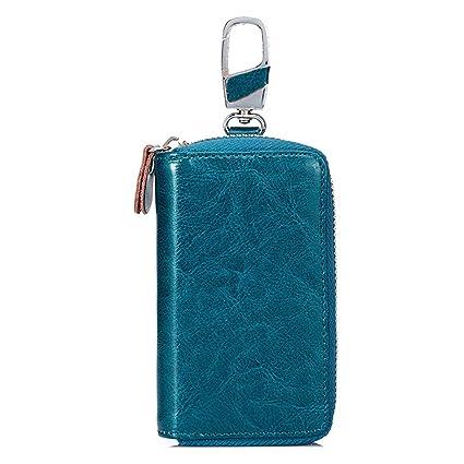 Bolso de la Llave SINOKAL Carpeta Dominante Llave Bolsa Llavero Bolsa Unisex Cartera Cuero Cartera maletín (Azul)