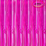 Foil Fringe Metallic Curtain Backdrops -3FTX8FT Tinsel Shiny Curtains Perfect for Halloween/Thanksgiving Day/Wedding/Party/Curtain/Birthday/Christmas/New Year and Other Event Decor, Pack Of 3 Rose Red