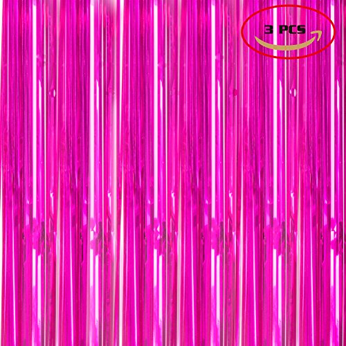Foil Fringe Metallic Curtain Backdrops -3FTX8FT Tinsel Shiny Curtains Perfect for Halloween/Thanksgiving Day/Wedding/Party/Curtain/Birthday/Christmas/New Year and Other Event Decor, Pack Of 3 Rose Red by FineBack