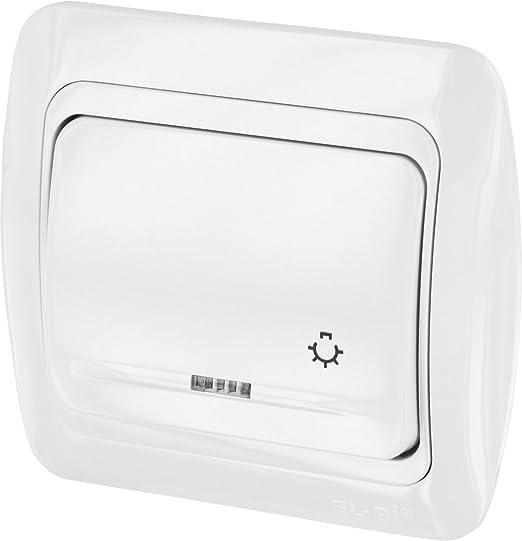 Up pulsador con luz de símbolo + LED – All-in-One – Marco + rasante de uso + Protectora (Serie T1 alpinweiß): Amazon.es: Iluminación