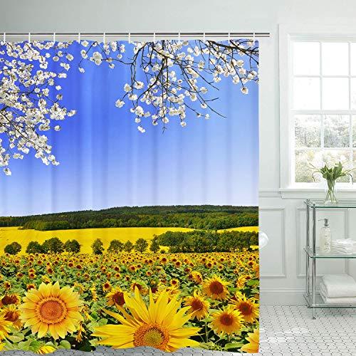 BLEUM CADE Blooming Sunflower Field undert Cloudy Blue Sky Shower Curtain with 12 Hooks, Durable Waterproof Fabric Shower Curtain for Bathroom