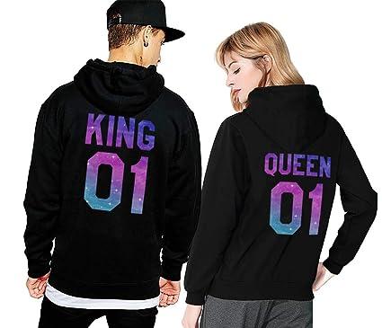 King Queen Hoodie Set Pärchen Pullover Partner Look Kapuzenpullover Couple  Sweater Pulli Schwarz Weiß Damen Herbst 6c08be4430