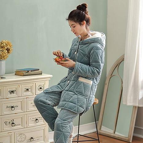 WANG-LONG Ropa De Dormir Batas Mujer Conjunto De Pijamas Camisones Ropa De Noche Franela