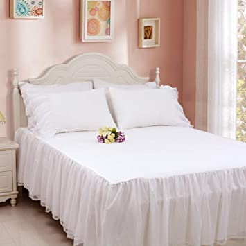 Softta Vintage Solid White Bedding Sets Queen Size Korean style Wedding  Princess Bed Sheet/Skirt Set Wrap Around Ruffled w Lace 650 TC Cotton 24 ...