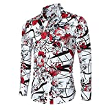 Cloudstyle Men Shirt Stylish Slim Fit Button Down Long Sleeve Floral Shirt,Red,Medium