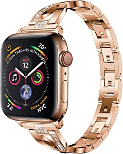 Yolovie Stainless Steel Band Compatible for Apple Watch Bands 42mm 44mm Women Rhinestone Bling Wristband Metal Bracelet Sport Strap with Removal Links for iWatch Series 5 4 3 2 1 - Rose Gold