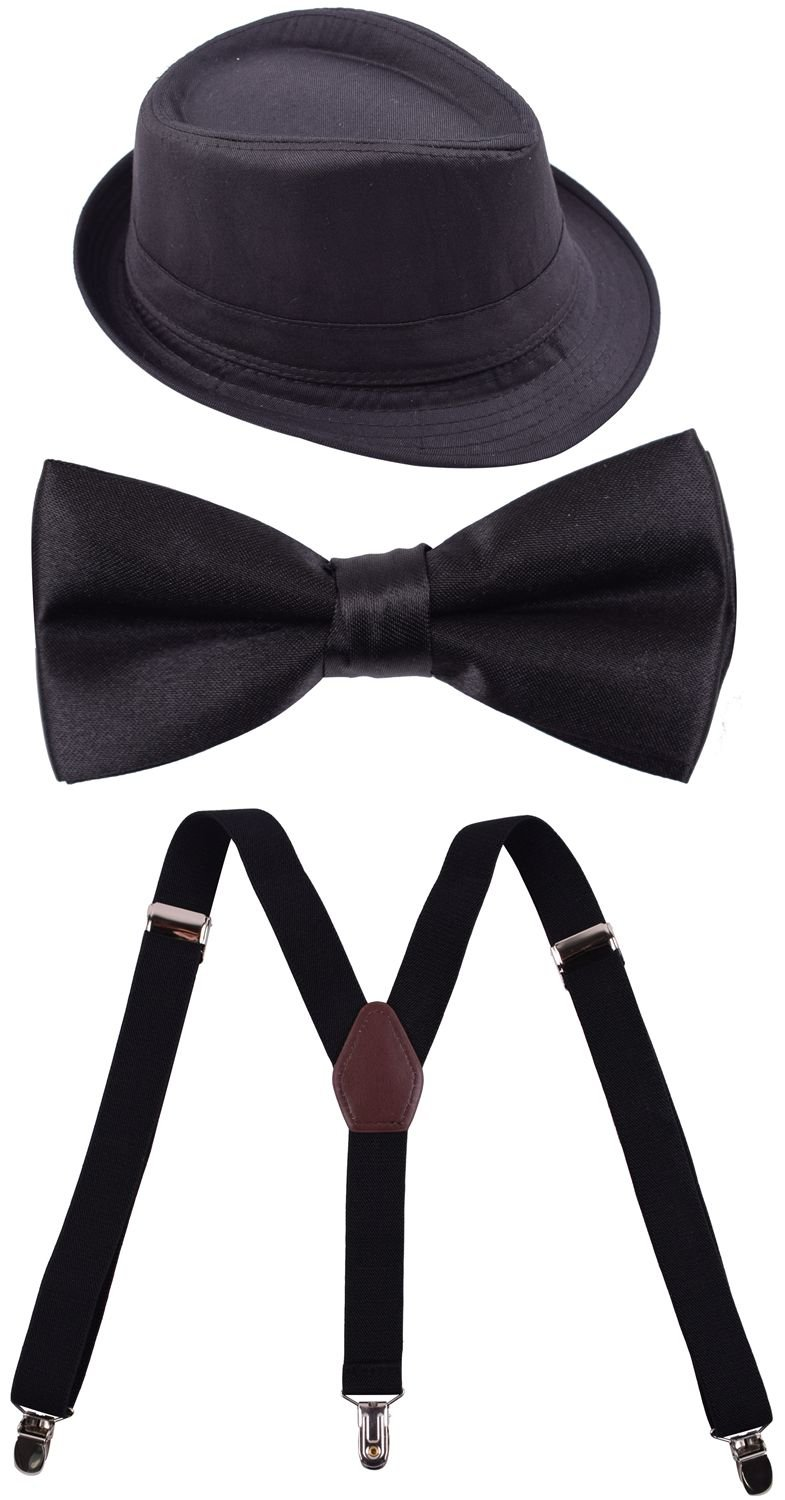 1920s Suspenders Set Clip on Bowties for Kids Fedora Hats for Boys Party Holiday