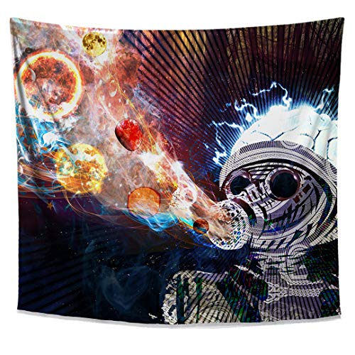 Lucid Eye Studios Astral Fumes Galaxy Tapestry- Outer Space Wall Art- Gas Mask Robot Design- Forest Tapestry- Bohemian Home Decoration- Psychedelic Dorm Wall Decor