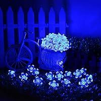 Qedertek Luces de Navidad Solares, Guirnalda Luces exterior 7M 50 LED, Cadena Luz Solar de flor, Guirnalda Luminosa Impermeable, Luces Decoración Azul para Arbol de Navidad, Jardín, Patio, Bodas, Terraza