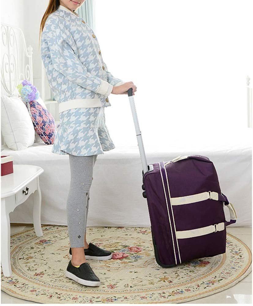 Color : Rose red, Size : 422052cm Womens Ladies with Wheels Trolley Bags Large Women Hand Luggage Travel Bag Double Layer High Capacity Multiple Color Selection ZHANGAIZHEN