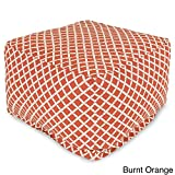 Burnt Orange Outdoor Ottoman Square Shape Large Size Water-Resistant Outdoor Chair With Removable Zippered Includes Cross Scented Candle Tart