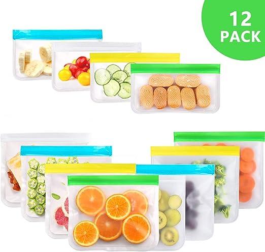 BHY 10Pcs Bolsas Reutilizables de Almacenamiento de Alimentos PEVA Bolsas Zip para Almacenar Comida Congelar y S/ándwiches,Verduras,Frutas,Almuerzo,L/íquida Bolsas Silicona Reutilizables