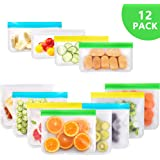 LEDGLE Reusable Food Storage Bags, 12Pack Eco-Friendly Leakproof PEVA Ziplock Bag Freezer Bag for Food, Sandwich, Lunch, Liquid, Snack Storage