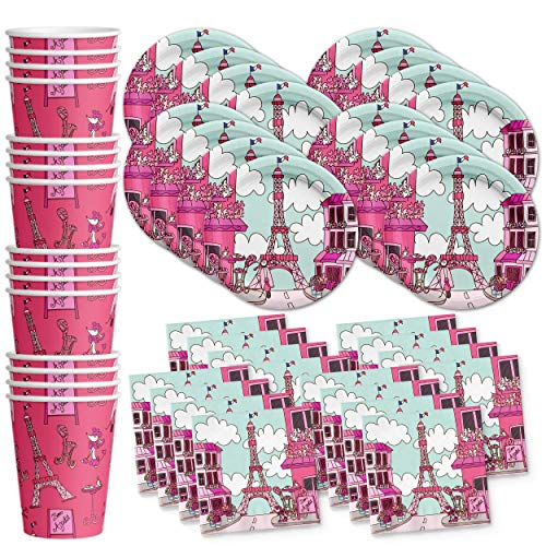 Pink Paris Birthday Party Supplies Set Plates Napkins Cups Tableware Kit for 16