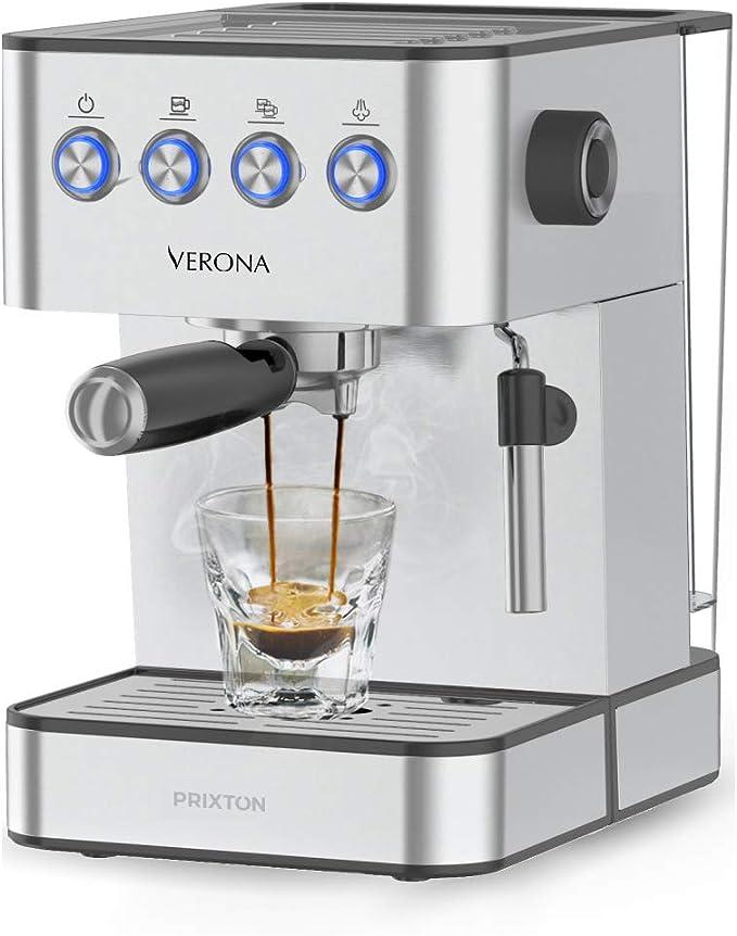 PRIXTON Verona - Cafetera Automática con 20 Bares, Potencia 850 W, Acero Inoxidable: Amazon.es: Hogar